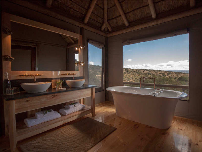 Amakhala Game Reserve Bukela Game Lodge Luxury Safari Tent Bath View